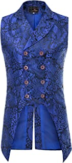 Paul Jones Mens Gothic Steampunk Double Breasted Vest Brocade Waistcoat PJ0081
