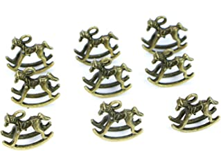 Monrocco 30 pcs Alloy Horse Charms Animals Charms Pendants Rocking Horse Trojan Horse Charms Beads for DIY Necklace Bracelet Jewelry Making
