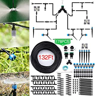 Jeteven 132ft/40m Drip Irrigation Kit Hydroponics Supplies System Drippers Tubing Accessories Tree Watering Automatic Plant Garden Hose Water Sprinkler, Set for Garden Greenhouse Flower Bed Patio Lawn
