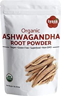 Organic Ashwagandha Powder Withania Somnifera Premium Quality Value Pack of 16 Oz/453 Gm/1 Pound Raw Superfood Boosts Sleep and Energy,Resealable Pouch