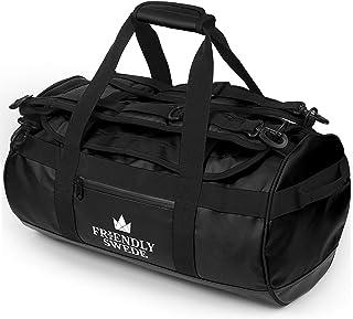 The Friendly Swede Wasserfeste Reisetasche Duffle Bag Rucksack - 30L / 60L / 90L - Seesack, Sporttasche Duffel Dry Bag mit Rucksackfunktion - SANDHAMN Schwarz, 30L