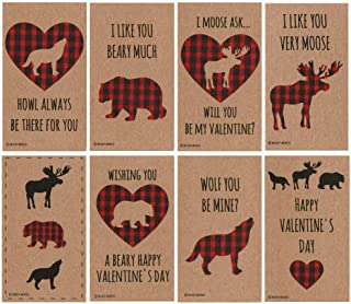 Buffalo Plaid Woodland Animal Valentines (Set of 24) for Valentine's Day by Nerdy Words