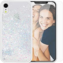 SanLead Phone Case for iPhone XR Glitter Quicksand Cover for Girls Anti-Scratch Shockproof TPU and PC with Screen Protector Compatible(Multi-Colored)