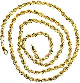 10K Yellow SOLID Gold Rope Chain Necklace 4MM wide