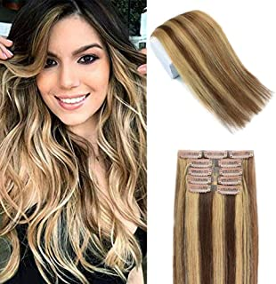 JQ Beauty 20 inch Clip in Human Hair Extensions Ombre Piano Color Remy Hair Extensions Medium Brown Mix with Dark Blonde Thick Straight Clip in Hair Extensions 5Pcs/100g T4/27