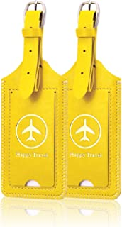 [2 Pack]Luggage Tags, ACdream Leather Case Luggage Bag Tags Travel Tags 2 Pieces Set, Yellow