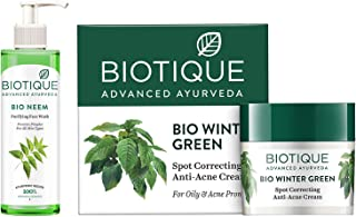 Biotique Bio Neem Purifying Face Wash, 200 ml & Biotique Bio Winter Green Spot Correcting Anti Acne Cream, 15g