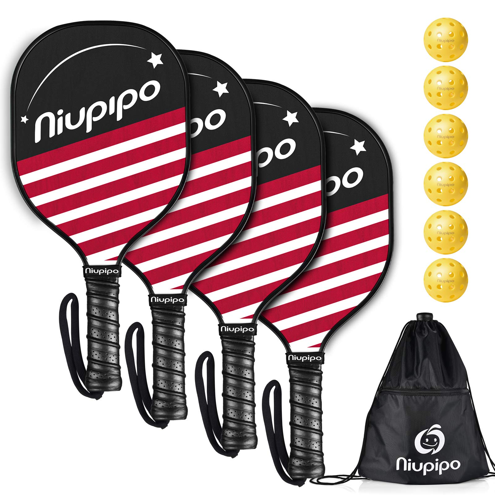 niupipo Pickleball Paddles Pickleball Set 4 Paddles with 6 B