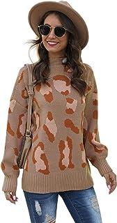 Jersey para mujer de punto, para jersey de mujer, manga larga, diseño de leopardo, para mujer, cuello redondo, cuello redondo
