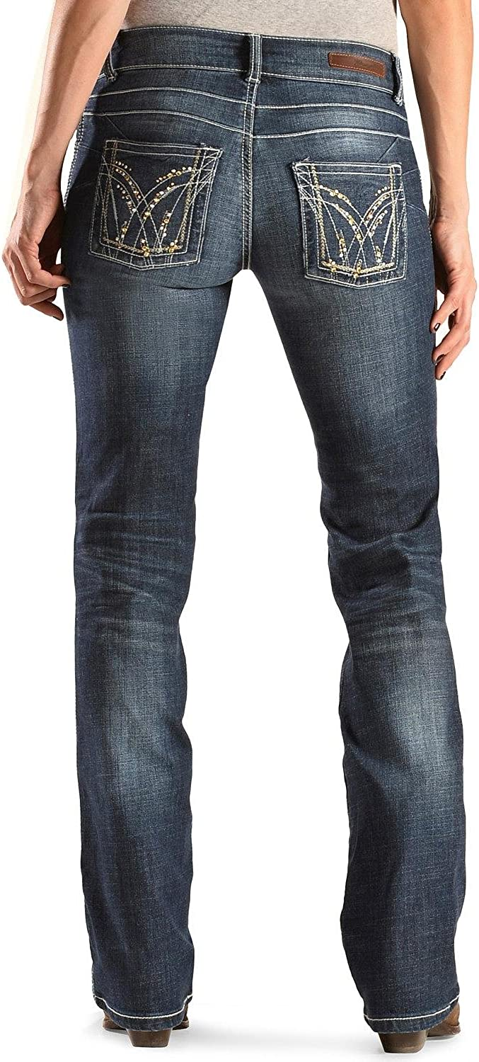 Wrangler Women's Premium Patch Booty Up Bootcut Jeans (3W x 34L, bluee)