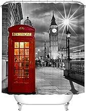 London Shower Curtain, Red Telephone Booth Grey Retro Big Ben England Travel Bathroom Decor