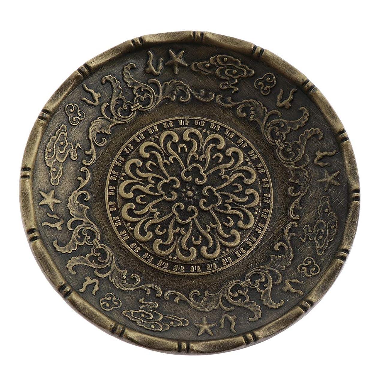 マークされた厳こしょうティーカップ コースター 小皿 円形 合金 中国茶道 全3色 - ブロンズ