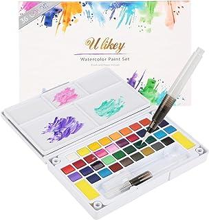 Ulikey Set de Peinture Aquarelle - Boîte d'Aquarelle avec 36 Couleurs + 2 Stylo d'aquarelle + 1 Palette + 2 Eponge de Nett...