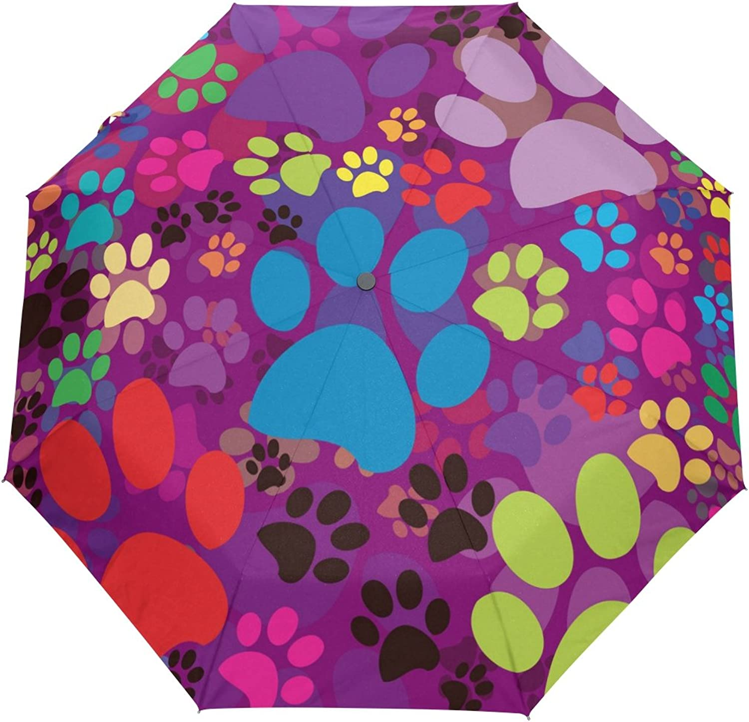MASSIKOA Cat Dog colorful Paws Footprints Umbrella Double Sided Canopy Auto Open Close Foldable Travel Rain Umbrellas