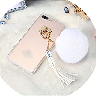 Sexy Fur Case for iPhone 6s 6 7 8 Plus Luxury Hair Ball Metal Ring Back Cover for iPhone 5s 5 SE Capinhas,White,for iPhone 7