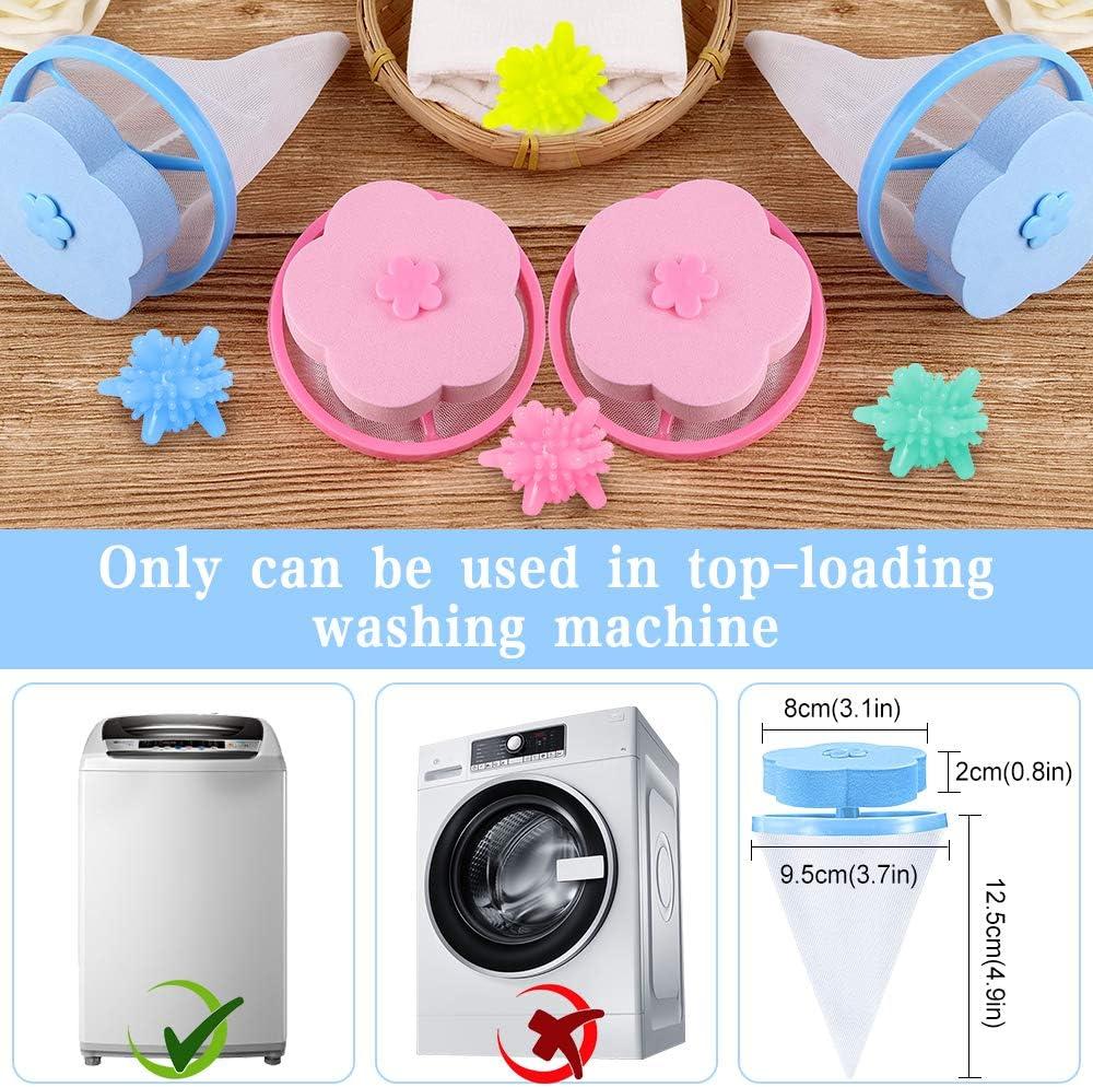 Blue-Pink 8 Pcs 4 Reusable Washing Machine Lint Catcher 4 Washer Balls Washing Machine Lint Mesh Bag Trap Pet Fur Remover Hair Catcher Filter Mesh Pouch