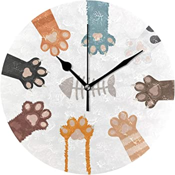 VAWA 掛け時計 置き時計 おしゃれ 北欧 時計 壁掛け 連続秒針 リビング 部屋装飾 贈り物 かわいい 猫の爪柄 魚の骨柄 面白い
