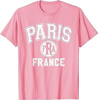 Paris FRA Varsity Style Pink with White Print T-Shirt