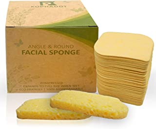 KOPHADOT Compressed Cellulose Cleansing Facial Sponges – 50 Pack of Spa Sponges – Angle & Round Facial Sponges – All-Natural Cleansing Face Sponges – Reusable Makeup Remover Sponge Pads