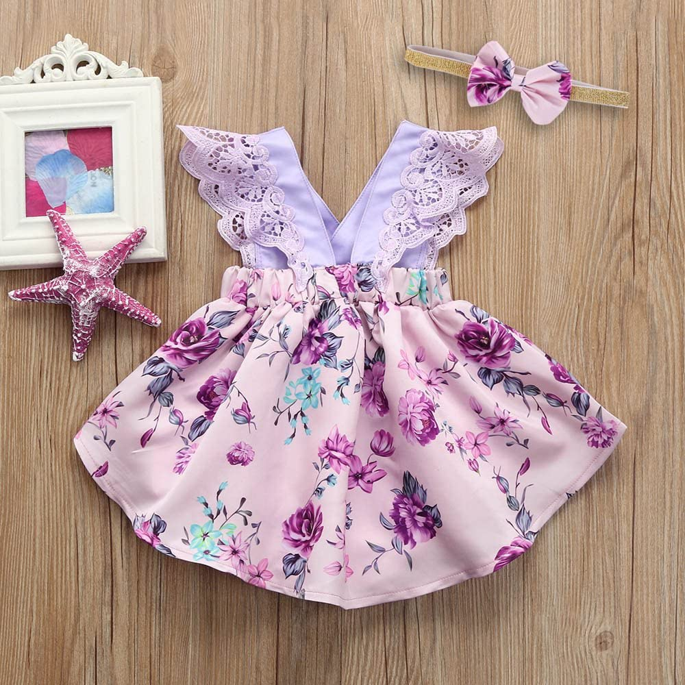 Headband Outfits RYGHEWE Newborn Kids Baby Girls Clothes Floral Jumpsuit Romper Playsuit