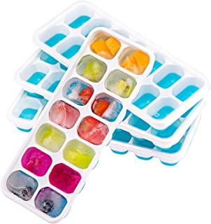 OMorc Ice Cube Trays 4 Pack, Easy-Release Silicone and Flexible 14-Ice Trays with Spill-Resistant Removable Lid, LFGB Cert...