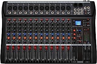 Depusheng 12 canales Mezclador de audio de estudio profesional Bluetooth USB Digital DJ Mezclador de sonido Consola con 48V Phantom Power