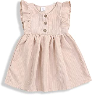 YOUNGER TREE Toddler Newborn Baby Girls Summer Outfits Short Sleeves Tutu Dress Corduroy for Little Girls