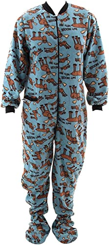 Lazy One Hommes Don't Moose with Me Bleu Foocravate Onesie Adulte