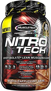 MuscleTech NitroTech Protein Powder Plus Muscle Builder, 100% Whey Protein with Whey Isolate, Mocha Cappuccino Swirl, 2.2 Pounds (21 Servings)