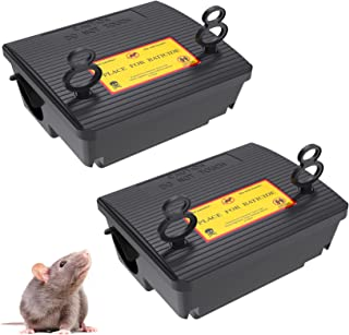 2 Pack Rat Bait Stations Rodent Trap, Reusable Mouse Traps Outdoors with Key Mice Control(Not Including Bait)