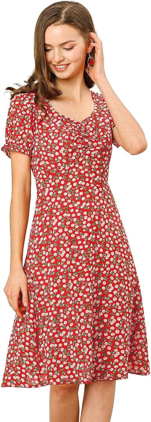online shopping Allegra K Women's Floral Sweetheart 4 years warranty Pri Cherry Smock Neck Ruffle
