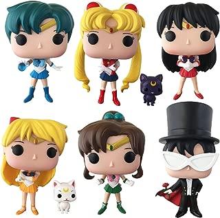 Sailor Moon – Sailor Moon w/Luna, Tuxedo Mask, Venus w/Artemis, Sailor Mercury, Sailor Mars, Jupiter Pop! Vinyl Figures Set of 6