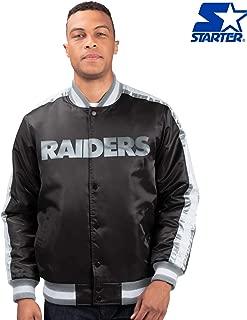 Oakland Raiders Starter O-Line Varsity Full-Button Satin Jacket - Black