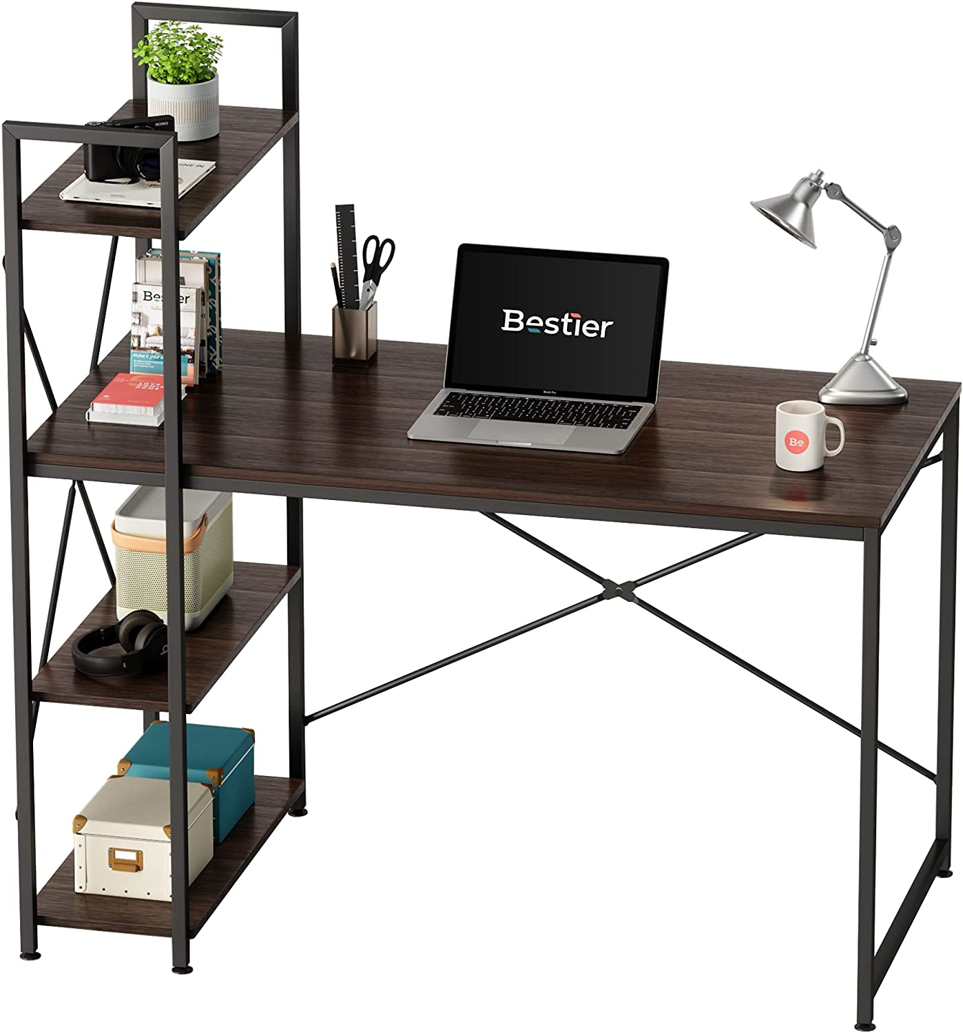 Bestier Computer Desk with Storage Shelves Manufacturer OFFicial shop D Office Home Inch Oklahoma City Mall 47