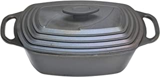 acerto 20157 Olla ovalada de hierro fundido con tapa de inducción 43x22 cm - Asador Premium Gourmet para todo tipo de cocinas