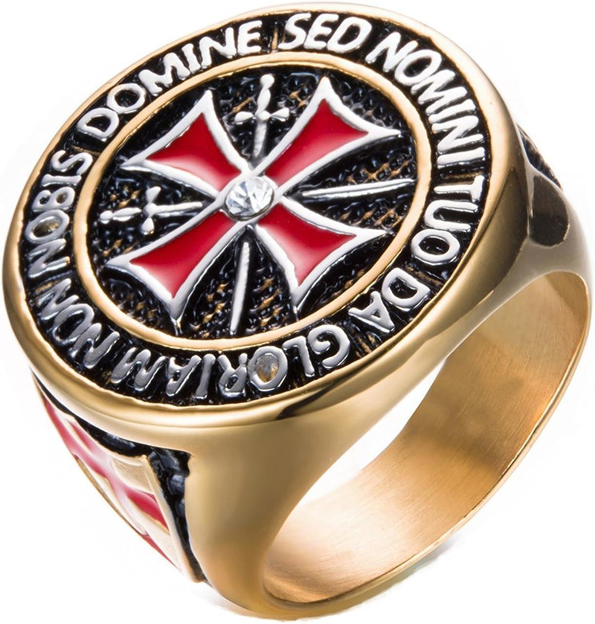 Kebaner para Hombre 316L Acero Inoxidable Vintage Knight Templar Cruz Anillo Oro/Plata Tamaño 8–14