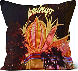 Nine City Flamingo Hotel in Las Vegas Throw Pillow Cushion Cover,HD Printing Decorative Square Accent Pillow Case,28