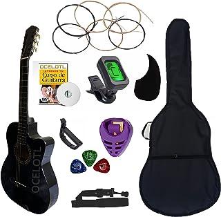 Guitarra Acústica Curva Ocelotl Color Negro Paquete Vital De Accesorios