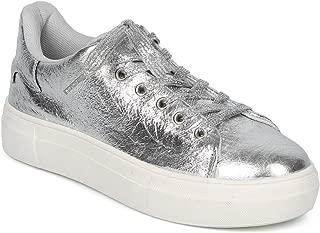 Alrisco Women Crinkled Metallic Lace Up Low Top Flatform Creeper Sneaker HC92