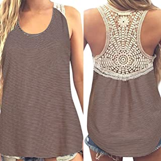 Tank Tops, FORUU Womens Summer Back Lace Casual Patchwork Crop Vest Camisole