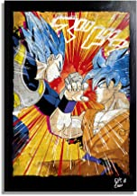Son Goku and Vegeta Super Saiyan from Dragon Ball Super by Akira Toriyama - Pop-Art Original Framed Fine Art Painting, Image on Canvas, Artwork, Movie Poster, Anime, Manga