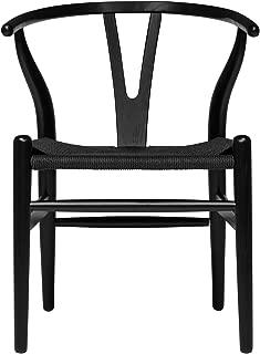 Hans Wegner Wishbone Style Woven Seat Chair (Black with Black Cord)