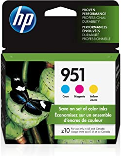 HP 951 | 3 Ink Cartridges | Works with HP Officejet Pro 251dw, 276dw, 8600 Series, 8100 | Cyan, Magenta, Yellow | CN050AN,...