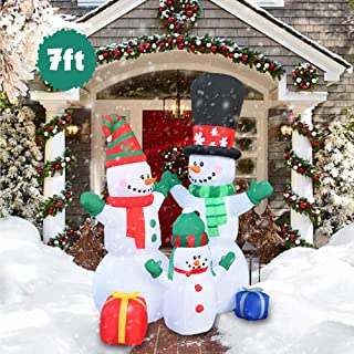 BESTPARTY 6 Foot LED Light Up Christmas Inflatable Cute Standing Snowman Family- Yard, Home Party Blow Up Decoration