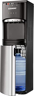 Euhomy Self Cleaning Bottom Loading Water Cooler Dispenser, with UV Lights Stainless Steel Water Cooler for Home, Office, Living Room, 3 Or 5 Gallon Bottle, UL/Energy Star Approved ,Black