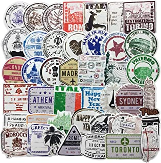 60-Pcs PVC Decals Retro Stamp Postmark Vinyl Computer Luggage Stickers for Cars Motorbikes Skateboard Laptops