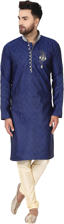 SKAVIJ Men's Tunic Jacquard Silk Kurta Pajama Wedding Party Suit Dress Set Paisley Print