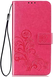 PICKQIU Case for Huawei Y9s, Premium Thin Fit Retro PU Leather Printed protective cover,Shockproof Wallet Book Case for with Magnetic Closure and Card Slots -rose Red