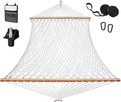 Cotton Rope Hammock with Tree Straps Kit, Ohuhu Double Hammocks for Outside with Wood Spreader, Bottle Holder & Side Pocket, All-in-One 2-Person Hammock for Indoor Outdoor, Garden Patio Yard Balcony