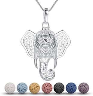 INFUSEU Lava Stone Essential Oil Diffuser Necklace Lucky Elephant Animal Aromatherapy Jewelry for Women, 5 PCS Lava Rocks,...